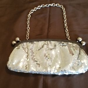 Silver sequined clutch or chain handle purse